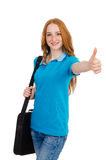 Young student with backpack isolated Stock Photo