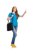 Young student with backpack isolated Royalty Free Stock Image