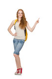 Young student with backpack isolated Royalty Free Stock Photo