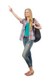 Young student with backpack isolated Royalty Free Stock Images