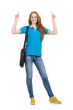 Young student with backpack isolated Stock Photography