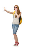 Young student with backpack isolated Royalty Free Stock Photos