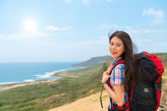 Young student backpacker going to hiking Royalty Free Stock Photo