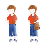 Young Student with a Bag Going to School Royalty Free Stock Images