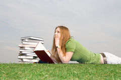 The young student with the book Royalty Free Stock Photography