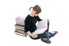 The young student with the book isolated Stock Photography