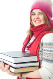 The young student with the books Stock Image