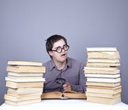 The young student with the books isolated. Stock Image