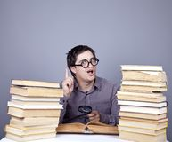 The young student with the books isolated. Royalty Free Stock Photography