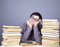 The young student with the books isolated. Royalty Free Stock Photo