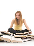 The young student with the books isolated Royalty Free Stock Photos