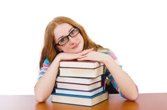 Young student with books isolated Stock Photos