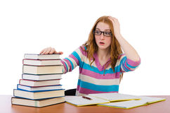 Young student with books isolated Stock Photo