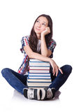 Young student with books isolated Royalty Free Stock Images