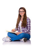 Young student with books isolated Stock Image
