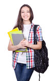 Young student with books isolated Stock Images