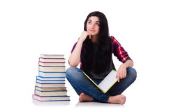 Young student with books isolated Stock Photography