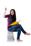 Young student with books isolated Royalty Free Stock Photos
