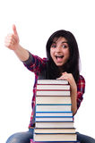 Young student with books isolated Royalty Free Stock Photo