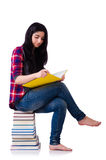 Young student with books isolated Royalty Free Stock Image
