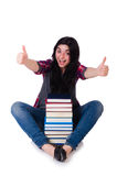 Young student with books isolated Royalty Free Stock Photography