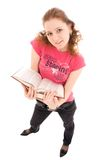 The young student with a books isolated on a white royalty free stock photo