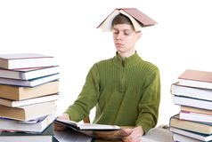 The young student with books isolated on a white. Background Stock Images