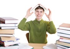 The young student with books isolated on a white royalty free stock photography