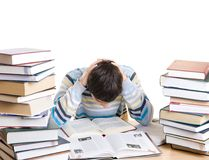 The young student with books isolated on a white royalty free stock photo
