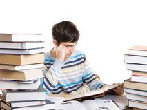 The young student with books isolated on a white Royalty Free Stock Image