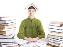 The young student with books isolated on a white royalty free stock images