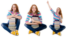 The young student with books isolated on white Royalty Free Stock Image