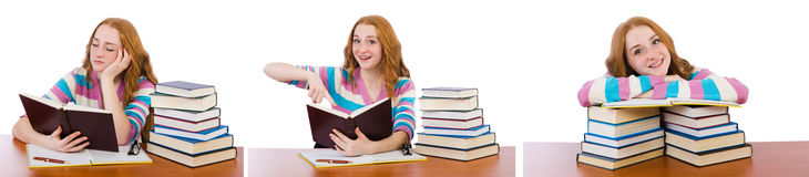 The young student with books isolated on white Stock Photos