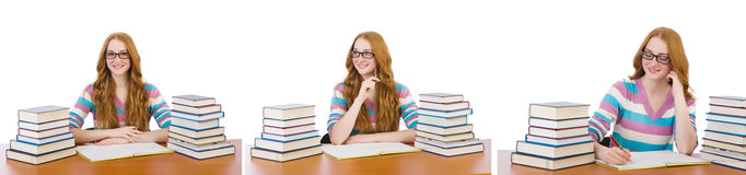 The young student with books isolated on white Royalty Free Stock Photo
