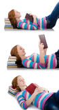 The young student with books isolated on white Stock Photo