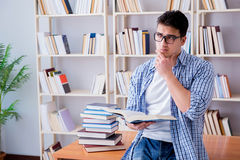 The young student with books preparing for exams Royalty Free Stock Images