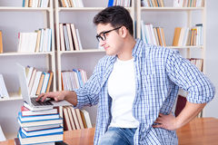 The young student with books preparing for exams Stock Images