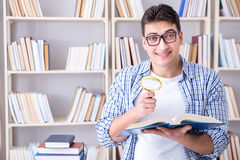 The young student with books preparing for exams Royalty Free Stock Photography