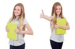 The young student with books on white stock image