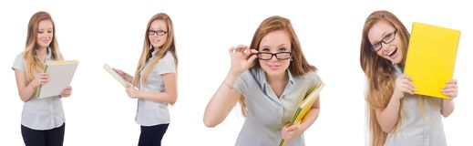 The young student with books on white royalty free stock image