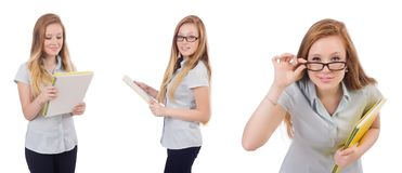 The young student with books on white stock photo