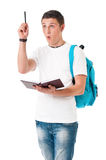 Young student. Boy student with backpack and notepad, isolated on white background Stock Image
