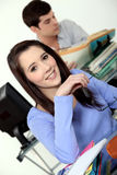 Young student in classroom Stock Images