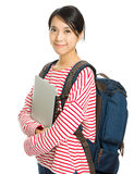 Young student with computer and backpack Stock Photos