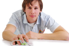 Young student with computer mouse stock photos