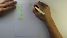 Young student computes simple mathematical operations such as addition and subtraction. Repetition is the mother of wisdom. School