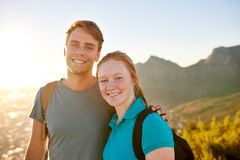 Young student couple on a nature hike together Royalty Free Stock Photography