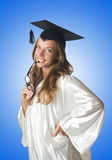 Young student with diploma on white Royalty Free Stock Photo