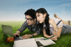 Young student doing homework in nature 1 Stock Image