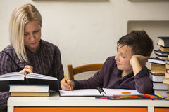 Young student doing homework with a tutor. Helping. Royalty Free Stock Photos
